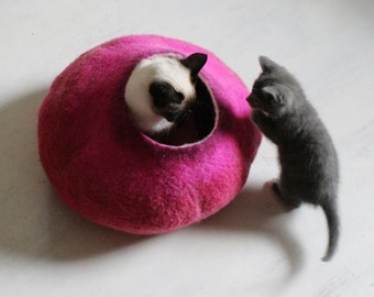 Cat Bed / Cave / House / Vessel - Hand Felted Wool - Hot Pink Bubble - Crisp Contemporary Design - READY TO SHIP