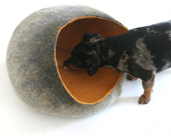 Pet / Dog / Cat Bed / Cave / House / Vessel - Hand Felted Wool -Grey Mustard Stone - Crisp Contemporary Design