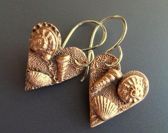 Copper Heart Seashell Earrings with Sterling Earwires
