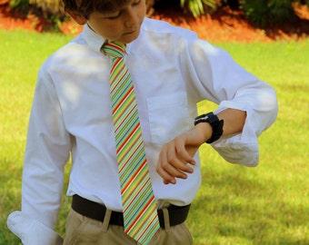Boys Yellow Necktie - boy's blue yellow orange multi stripes cotton neck tie - pre-tied - baby infant toddler child preteen - boys birthday