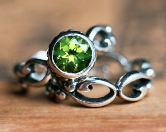 Peridot engagement ring set, august birthstone ring, ethical engagement, bezel engagement, filigree wedding band, sterling silver, Wrought