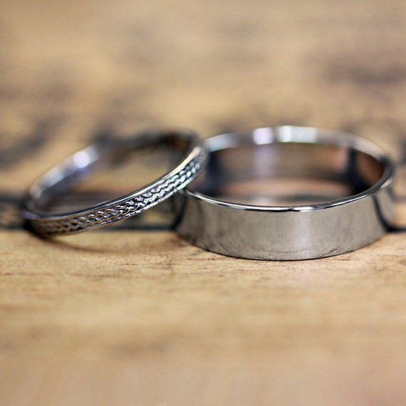 14k white gold wedding ring set, recycled gold, wedding bands, solid gold rings, braid rings, his and hers, wheat bands, custom made