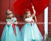 Blue Flower Girl Dresses . OOAK Dress