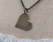 custom heart . customize and personalize your one word brass heart soul mantra necklace