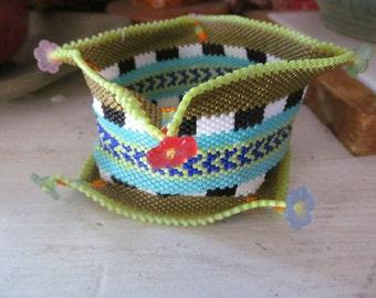 Spring Blossoms Contemporary beadwork beadwoven Bracelet