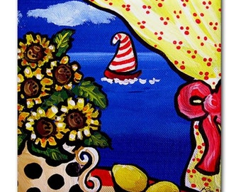 Sunflowers Scenic Sailboat  Whimsical Folk Art Ceramic Tile