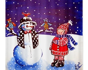 Winter Girl Snowman Fun Folk Art Whimsical Colorful Bathroom Shower Curtain