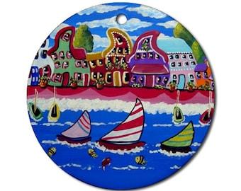 Whimsical Shoreline Houses Sailboats Folk Art Fun Whimsical Colorful Round Porcelain Ornament
