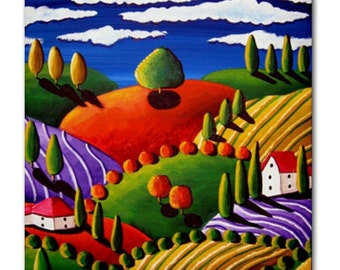 Tuscan Landscape 2 Whimsical Colorful Folk Art Ceramic Tile