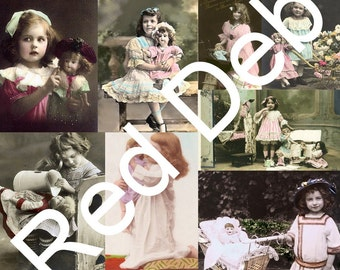 Vintage Girls and Their Dolls Digital Collage Sheet
