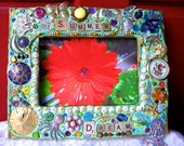Summer Dream Vintage Jewelry Mixed Media Mosaic Frame 5x7