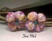 HANDMADE LAMPWORK PAIR glass earrings beads Donna Millard sra purple violet flowers