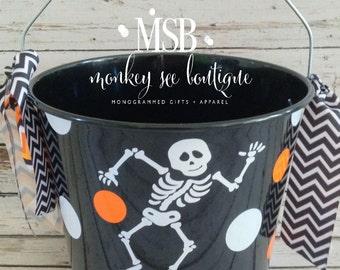 Custom Skeleton Halloween Candy Bucket