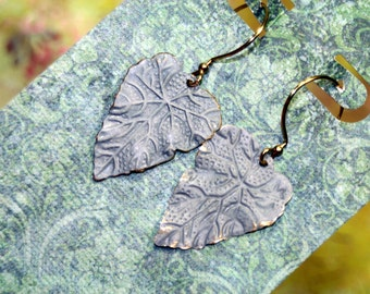 Distressed Matte BLUE Falling Leaves Touched with Gold Dangle Earrings Lightweight