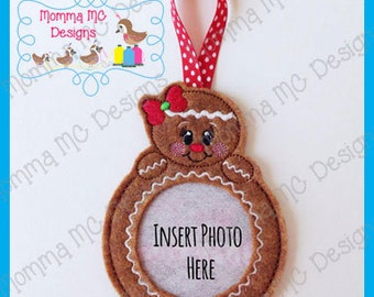 Gingerbread Girl Photo Frame Ornament Felt Embroidery Design
