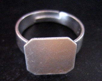 12mm adjustable ring findings, square silver plated, pick your amount A263