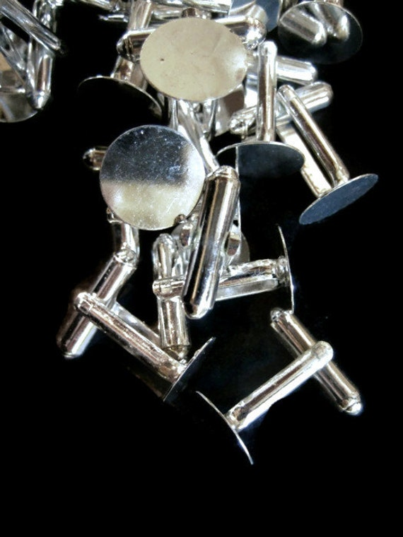 12mm cuff links, silver plated, pick your amount, D60