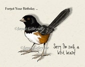 Belated Birthday Card, Printable. Forgot Your Birthday, Bird Brain, Humor, Funny, Artwork of a Bird, Instant Download, Freehand Art