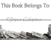 Printable Book Plate with Original Pencil Drawing of BOOKS, Two Inches by Four Inches, You Print, Instant Download