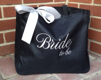 Monogrammed Tote Bag Bride to Be Gift Embroidered
