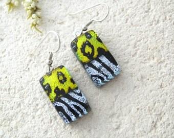 Petite Gold Silver Earrings, Dichroic Earrings, Fused Glass Jewelry, Animal Print Jewelry, Glass Earrings, Dangle Drop Earrings,  071716e100