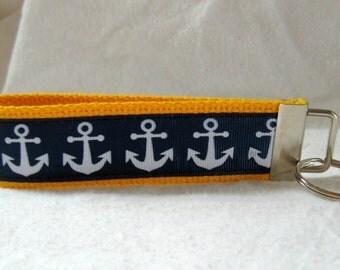Nautical Key Fob YELLOW Navy Anchors Key Chain