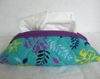 Floral Quilted Pocket Tissue Holder Purple Teal Tissue Cozy