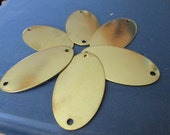5 Extra Large Brass Oval Blank Tags