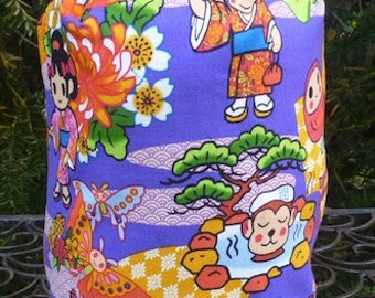 Kawaii knitting project bag, WIP bag, drawstring bag, Kimono Girl, Suebee