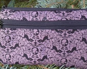 Black cats and skulls mini wallet, purse organizer, iPhone purse, wristlet, Sweet Pea