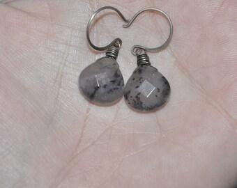 Black Natural Tear Drop Dangle Earrings