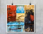 Morocco Textures Montage - 7x7 12x12 18x18 22x22 inch photographs textures wall brick paint wood blue yellow red exotic urban wall art decor