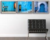Three Morocco Blue Prints - House door chair urn blue Morocco arch wall art home decor set of three travel art 10x8 11x14 20x30 20x16