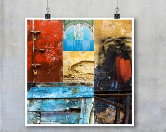 Texture collage art photographs wall brick paint wood blue yellow red urban Morocco wall art home decor square print poster