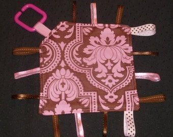 Girls Pink Brown Damask Print On-the-go boy Ribbon Lovey Taggie Blanket made with Pottery Barn Kids
