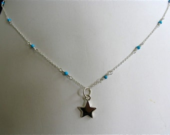 """18"""" Turquoise link on cable chain necklace with Star pendant in Sterling Silver"""