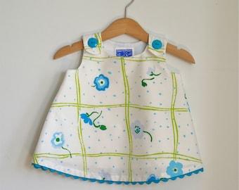Girls Dress, Baby Dress, Toddler Dress, Newborn Dress, Girls Dresses, Girls Sundress, Blue Daisy Windowpane Retro Dress, Newborn to 4T