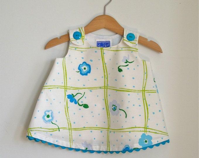 Baby, Toddler Girls Dress - Blue Daisy Windowpane Retro - sizes Newborn to 4T - Children's Clothing from Vintage Fabric