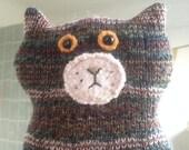 Flat Cat soft toy handmade recycled woollen kitten - Soldier