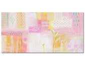 ORIGINAL large abstract painting 24x12 soft PINK and pastel colors thick canvas acrylic painting by TASCHA