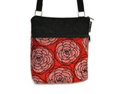 iPad Case Purse Bag Kindle Bag iPad Shoulder Bag Cross Body Bag - Fast Shipping - ELECTRONIC POCKET - BORSETTA Handbag - Red Rose Dots