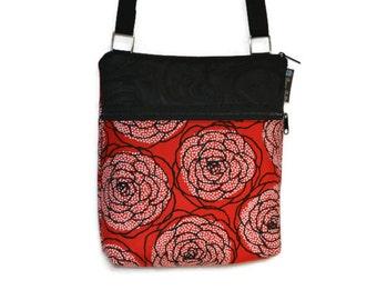 iPad Case Purse Bag Kindle Bag iPad Shoulder Bag Cross Body Bag - Fast Shipping - ELECTRONIC POCKET - BORSETTA Handbag - Red Rose Dots