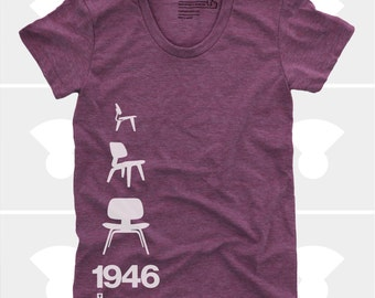 Women's TShirt Eames Plywood Chair 1946, Womens Top, Mid Century Modern, Eames Lounge Chair Shirt, Plum (4 Colors) T-Shirt for Women