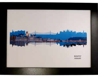 Budapest, Hungary at night Skyline Print with aerial city photo
