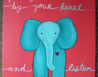 ELEPHANT PAINTING NURSERY art on 12 x 12 inch canvas baby childrens room decor baby shower gift