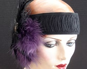 Gatsby Flapper Headpiece With Purple And Black Feathers