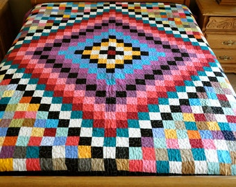 Machine quilted Around the world  Patchwork complete   Quilt #J-23