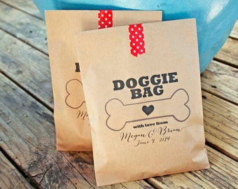 Wedding Favor Bags - Doggie Bag - Dog Treat Bag - Customizable from your pet - Birthday, anniversary, parties - 20 Bags