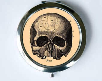 Victorian Medical Skull Compact Mirror Pocket Mirror gothic psychobilly anatomy