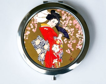 Japanese Geisha Compact MIRROR Pocket Mirror cherry blossoms butterfly